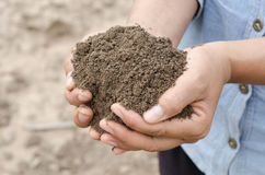 Średniorolny mienie stos orny glebowy żeński agronom egzamininuje q Fotografia Royalty Free