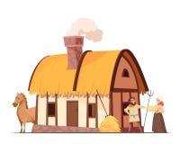 Średniowieczna Chłopska gospodarstwo domowe kreskówki ilustracja Zdjęcia Royalty Free