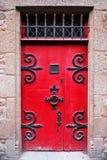 średniowieczna czerwone drzwi fotografia stock