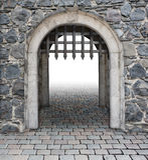 Średniowieczna grodowa magistrala wchodzić do obraz royalty free