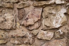 Średniowieczna grodowa upaćkana kamienna ściana Zdjęcia Royalty Free