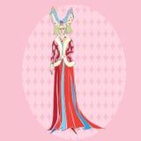 Średniowieczna kostiumowa kobieta royalty ilustracja