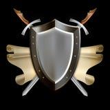 Średniowieczna osłona z ślimacznicą i dwa kordzikami Fotografia Royalty Free