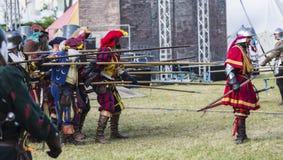 Średniowieczna reżyserująca bitwa - Rievocandum 2015 Fotografia Stock