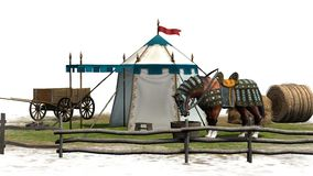 Średniowieczna scena z koniem Zdjęcia Royalty Free