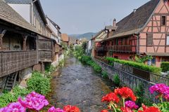 Średniowieczna wioska Kaysersberg, Alsace, Francja fotografia royalty free