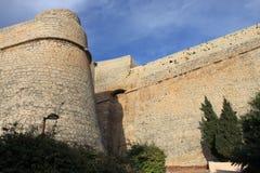 Średniowieczne ściany Ibiza miasteczko Obrazy Royalty Free