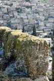 Średniowieczne ściany Jerozolima Antyczny kamień, ponury niebo Teet Zdjęcie Stock