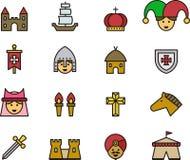 Średniowieczne i wieki średni ikony ilustracji