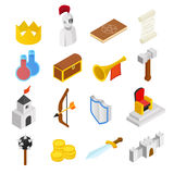 Średniowieczne isometric 3d ikony ustawiać ilustracji