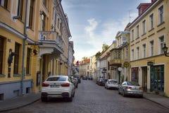 średniowieczne ulicy stary miasteczko, wąskie ulicy, granitowy bruk Obrazy Royalty Free