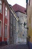 średniowieczne ulicy stary miasteczko, wąskie ulicy, granitowy bruk Fotografia Stock