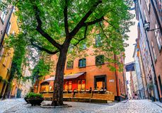 Średniowieczni alleyways i brukować ulicy stary miasteczko, Gamla Stan Fotografia Royalty Free