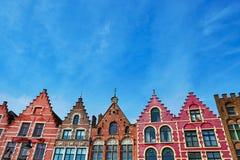 Średniowieczni budynki na Grote Markt obciosują w Brugge, Belgia Fotografia Royalty Free