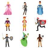 Średniowieczni charaktery ustawiają, ludzie w dziejowych kostiumach średniowieczne Europa ilustracje ilustracja wektor