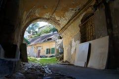 Średniowieczni domy w Sibiu obrazy royalty free