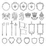Średniowieczni heraldyczni symbole odizolowywają na bielu Wektorowa ręka rysować ilustracje ilustracji