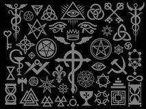 Średniowieczni Occult znaki I Magiczni znaczki Osrebrzają Czarnego wydanie Obraz Royalty Free