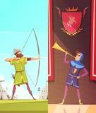 Średniowieczni Pionowo kreskówka sztandary Ustawiający ilustracji