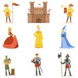 Średniowieczni postać z kreskówki I Europejscy wieka średniego Historycznego okresu atrybuty Ustawiający ikony ilustracji