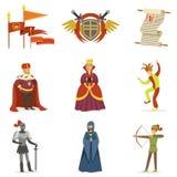 Średniowieczni postać z kreskówki I Europejska wieka średniego Historycznego okresu atrybutów kolekcja ikony