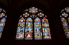 Witrażu okno Strasburska katedra w Francja Obrazy Stock