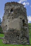 Średniowieczny łamający wierza Celnictwo na Olt rzece w Karpackich górach Obrazy Royalty Free
