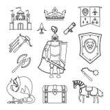 Średniowieczny antyczny rycerza opancerzenie ilustracji