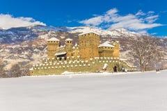 Średniowieczny Fenis kasztel w Aosta dolinie, Włochy Fotografia Royalty Free