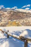 Średniowieczny Fenis kasztel w Aosta dolinie, Włochy Zdjęcie Royalty Free