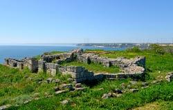 Średniowieczny forteca na przylądku Kaliakra, Czarny morze obraz royalty free
