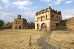 Średniowieczny forteca w Gondar, Etiopia, UNESCO światowego dziedzictwa miejsce fotografia stock