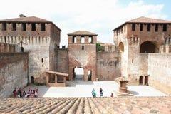 Średniowieczny forteca w Soncino mieście, Włochy zdjęcia royalty free