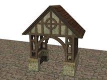Średniowieczny Gatehouse budynek na Kamiennej podłoga odpłacającej się w 3D na białym tle Obraz Stock