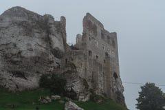 Średniowieczny grodowy ruiny obsiadanie na górze wzgórza w ciężkiej mgle Fotografia Royalty Free
