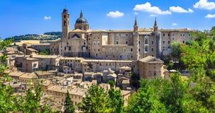 Średniowieczny grodzki Urbino, Unesco miejsce Marche, Włochy Obrazy Stock