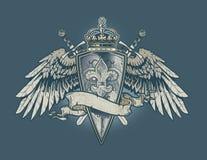 Grawerująca Fleur osłona royalty ilustracja