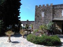 Średniowieczny kasztel w górę wzgórza fotografia royalty free