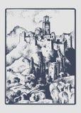 Średniowieczny kasztel w wzgórzu w roczniku, grawerującej ręce rysującej w nakreśleniu lub drewna cięcia stylu Tuskany, Włochy, s Fotografia Stock