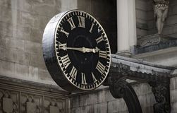 Średniowieczny kościół zegar Zdjęcie Royalty Free