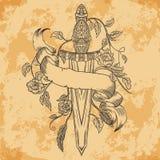 Średniowieczny kordzik, róże, liście, piórka i tasiemkowy sztandar na starzejącym się papierowym tle, ilustracja wektor