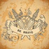 Średniowieczny kordzik, róże, liście, piórka i tasiemkowy sztandar na starzejącym się papierowym tle, Rocznika kwiecista wysoce s Obraz Royalty Free