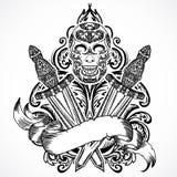 Średniowieczny kordzik, scull, tasiemkowy sztandar i kwiecisty ornament, Rocznik kwiecista wysoce szczegółowa ręka rysująca ilust ilustracja wektor