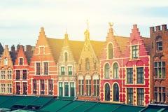 Średniowieczny miasto Brugge w Belgia Piękny Grote Markt kwadrat Fotografia Royalty Free
