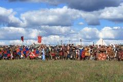 Średniowieczny militarny festiwalu Voinovo słup (wojownika pole) Obraz Royalty Free