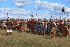 Średniowieczny militarny festiwalu Voinovo słup (wojownika pole) Fotografia Royalty Free