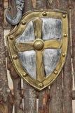 Średniowieczny osłony przedpole nad drzewnymi bagażnikami obraz royalty free