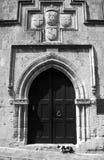 Średniowieczny portal i kot Fotografia Stock