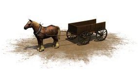 Średniowieczny - rolny koń z furgonem Zdjęcia Stock