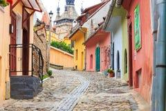 średniowieczny Romania sighisoara ulicy widok zdjęcie stock